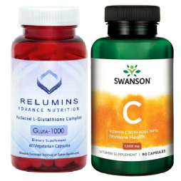 Relumins 60 caps with Swanson Vitamin C 1000 mg