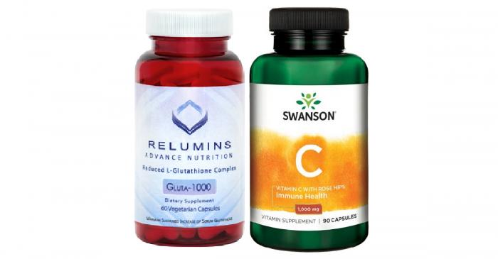 Relumins 60 caps with Swanson Vitamin C 1000 mg